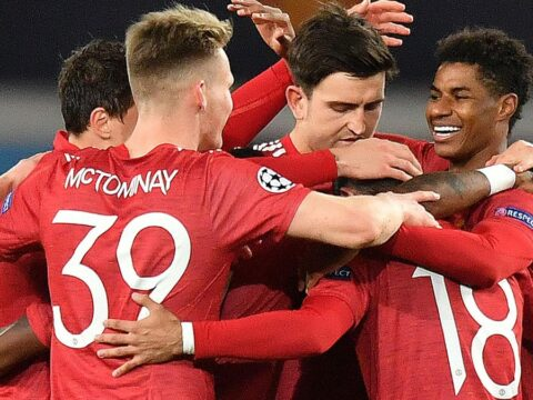Manchester United players celebrate during 5-0 win over RB Leipzig
