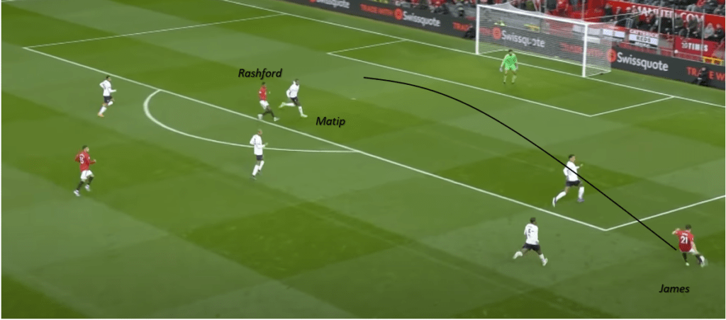 Daniel James whipping in the cross for Marcus Rashford to score against Liverpool.
