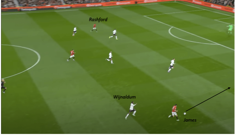Daniel James setting up the attack for Marcus Rashford to score against Liverpool.