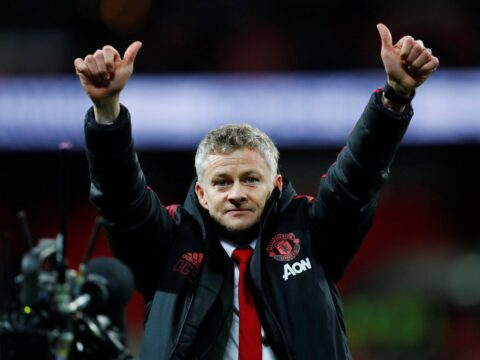 Ole Gunnar Solskjaer with his thumbs up